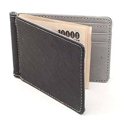 【F-grip】 二つ折り財布 マネークリップ レザー 折りたたみ スリム コンパクト 財布 ブラック (グレー)