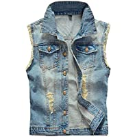 Stylish Coat Men's Jean Denim Denim Vest Jacket Jackets Classic Simple Estilo Work Holes Sleeveless Lapel Denim Coat Jacket (Color : Hellblau, Size : X-Large)