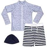 【Asbrio】水著 男の子 UPF50+ ボーダー柄パンツ グレーラッシュガード 帽子 90?140cm (100)