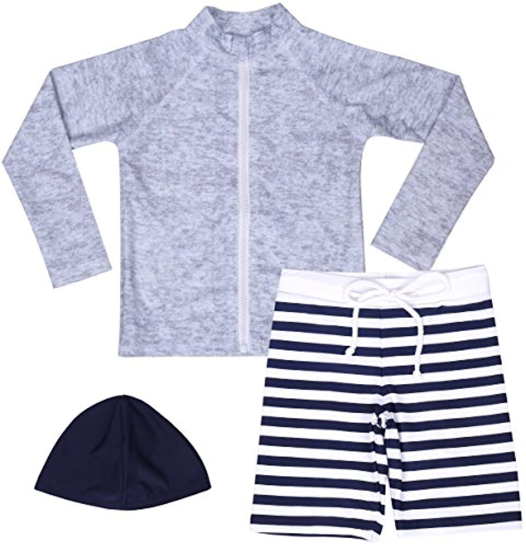 【Asbrio】水着 男の子 UPF50+ ボーダー柄パンツ グレーラッシュガード 帽子 90?140cm (130)