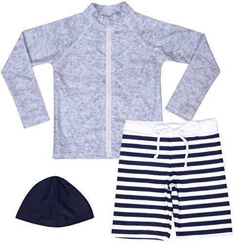【Asbrio】水着男の子UPF50+ボーダー柄パンツグレーラッシュガード帽子90〜140cm(140)
