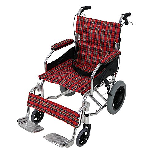 車椅子 アルミ合金製 レッドチェック 約10kg 背折れ 軽量 折り畳み 介助用 介助ブレーキ付き ...