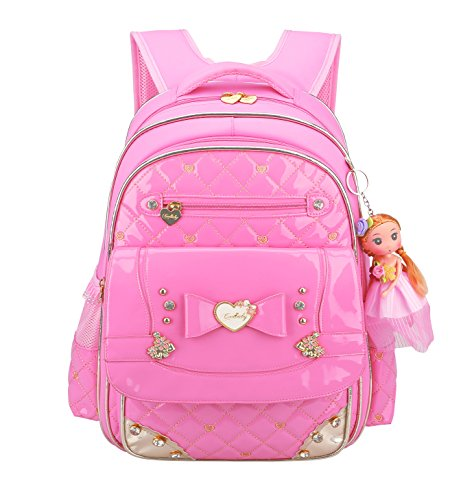 Wraifa子供リュック キッズパックおしゃれ 女の子用 防水軽量大容量 多機能アウトドア通学遠足 かわいい人形おもちゃ付き 入学お祝いギフト (ピンク, S)