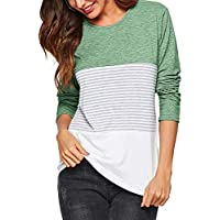 Amoretu Women's Round Neck Striped Long Sleeve T-Shirts Casual Blouses Tops
