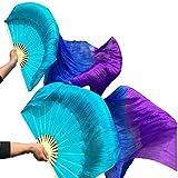 Nimiman Hand Made Women Silk Belly Dance Fan veils Turquoise Blue Purple