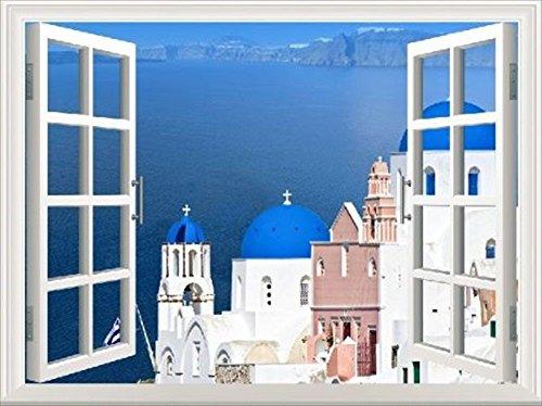 選べる ウォール ステッカー 窓 の 風景 いろいろ (地中海 教会 白 街並 70x50cm)