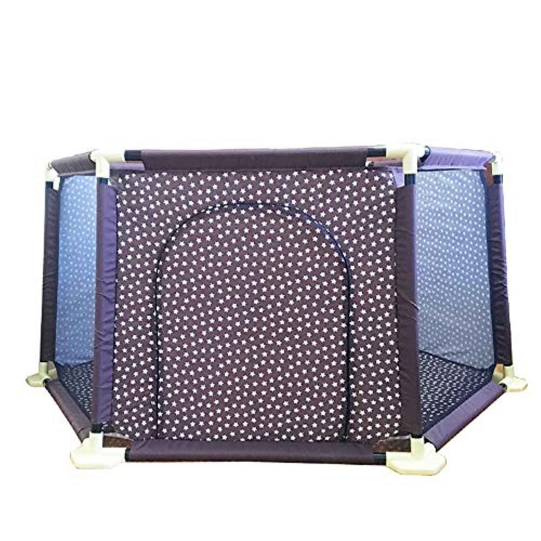 BSNOWF-ベビーサークル ブラウンPlaypens 6パネルオックスフォード布キッズ再生ペン折りたたむコンパクトポータブルベイビーフェンス