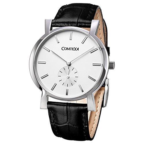 Comtex メンズ時計 本革バンド ウォッチ 男性 ホワイト クオーツ腕時計 メンズ ビジネス