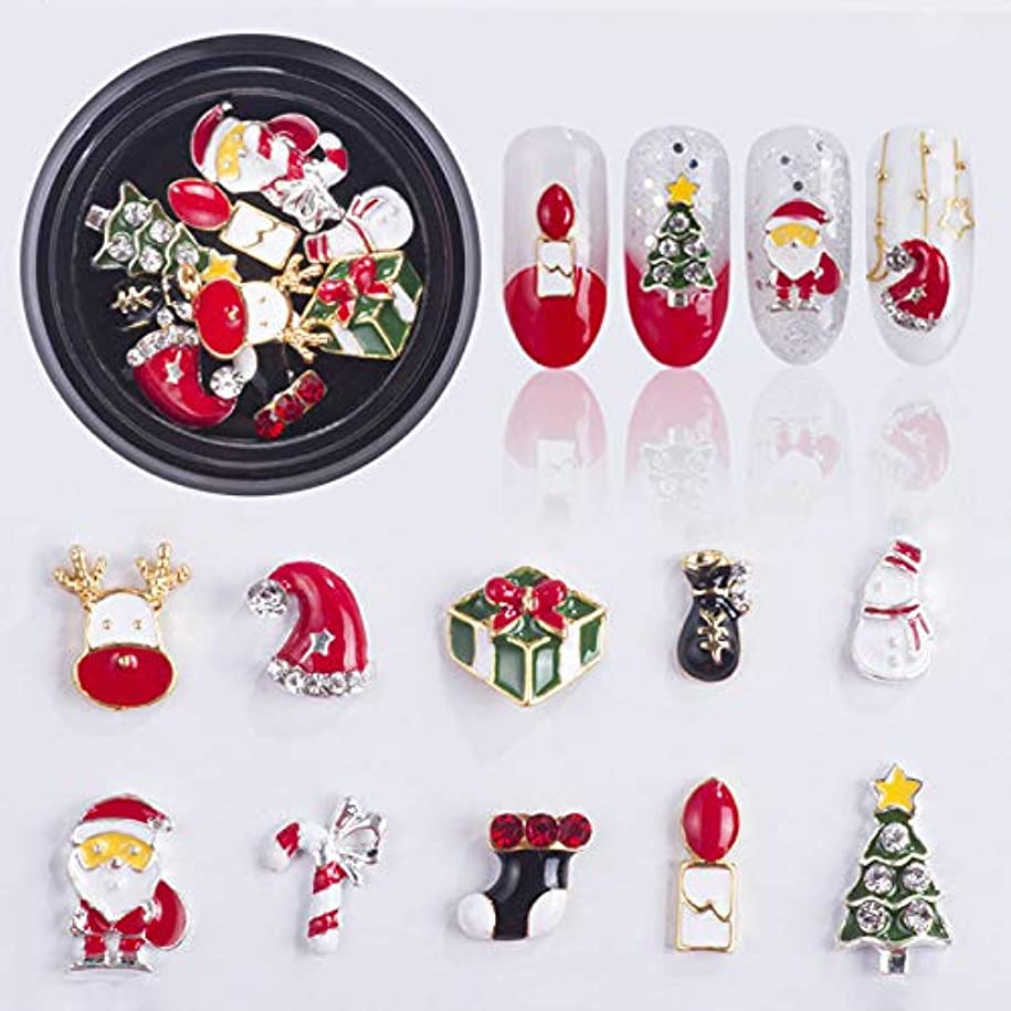 聴覚タンザニア散る1個ックスクリスマスクリスマスジュエリーミックスツリー雪だるまネイルアート装飾合金金属DIY 3Dネイルラインストーンツール