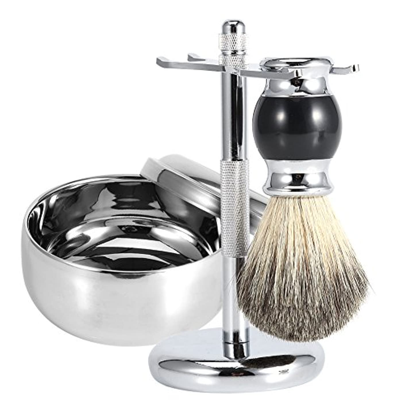 シェービングブラシセット メンズシェービングツール 石鹸ボウル 理容 洗顔 髭剃り 泡立ち スタンド ホルダー フェイクバジャーヘアブラシ 合金ソープマグカップキット(3点セット銀)