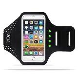 Winhi スポーツアームバンド ランニングアームバンド LEDライト 揺れに連れて発光 指紋識別と水洗可能 エコ生活 Sony /iPhone6/6S/7 plus (4.7/5.5インチ) (4.7, ブラック)