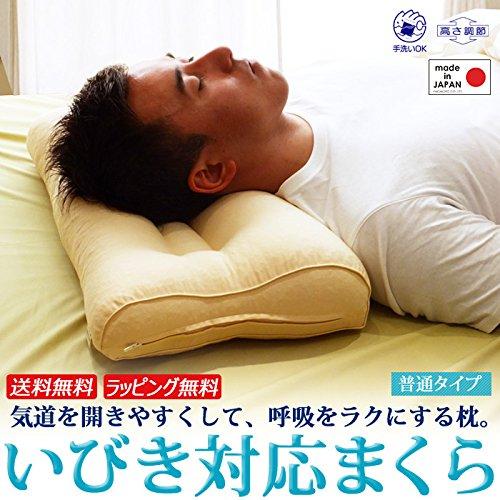 いびき枕 + 抗菌防臭枕カバー1枚付き いびき まくら いびき改善 いびき対策 ギフトラッピング済み 63 43 日本製 (BE)