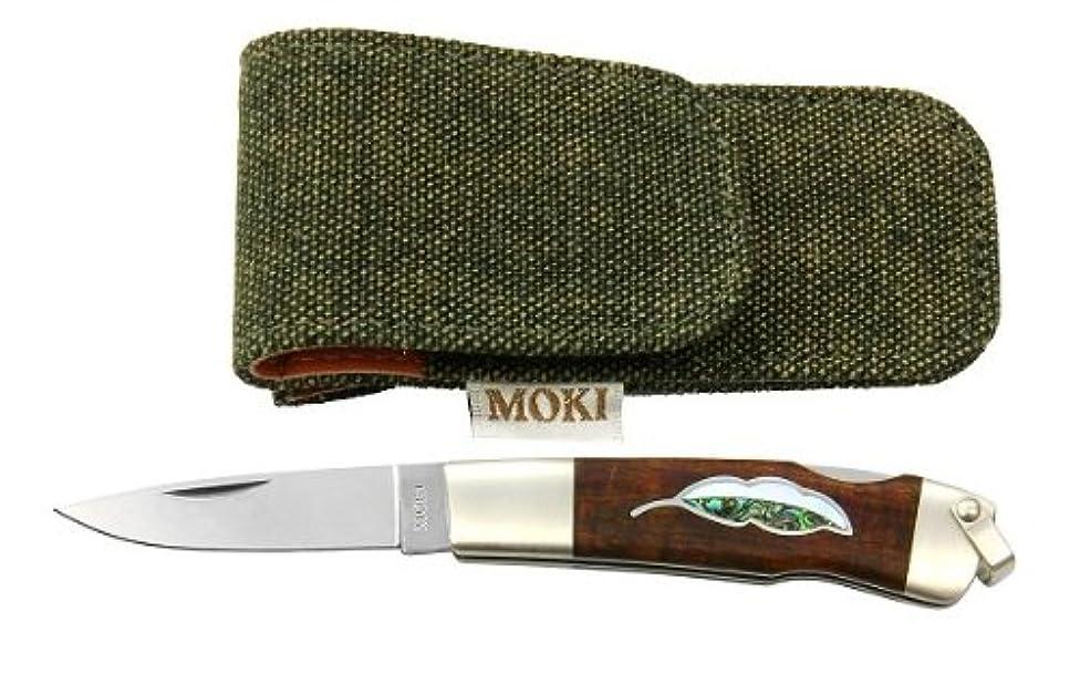 シャークあからさまシエスタモキナイフ MOKI  MK-810IL リーフ アイアンウッド(白蝶貝+あわび) ハンドル:7cm、ブレード:4.5cm VG-10