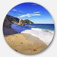 DesignArt Portoferraio Sansone Sorgenteビーチ風景円の壁アート( Disc 23、23 x 23インチ、ブルー
