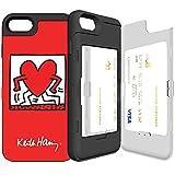 iPhone7 ケース 《SKINU》 キースへリング・KEITH HARING・カード収納可能・衝撃吸収抜群・傷防止・ミラー付き・スタンド機能・ICカード/クレジットカード完璧収納 (Walking Red)