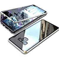Galaxy Note 9 Case, Magnetic Adsorption Metal Frame Bumper Clear Tempered Glass Back Cover For Samsung Galaxy Note 9