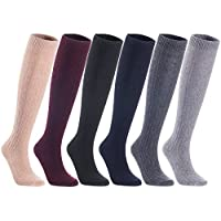 Lian LifeStyle Women's 3/4/5/6 Pairs Knee High Wool Boot Socks Leg Warmer HR158121 Size 7-9 Assorted Colors