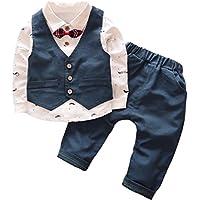(ブルーリンクス) BLUE LINX 可愛い 子供服 セットアップ スリーピース フォーマル ベスト 蝶ネクタイ リボン 柄 シャツ ベビー 男の子 サイズ 80~120cm