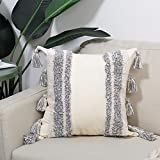 """Boho Decorative Throw Pillow Cover - Tassels Tufted Square Cushion Cover, Cotton Canvas Beige & Gray Pillow Case for Sofa Bed Living Room Bedroom, 18""""x18"""""""