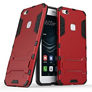 TopACE Huawei P10 Lite 専用ケース 保護フレーム 高品質 超薄型 超耐磨 最軽量 [ 落下 衝撃 吸収 ]スマートフォンケース(レッド)