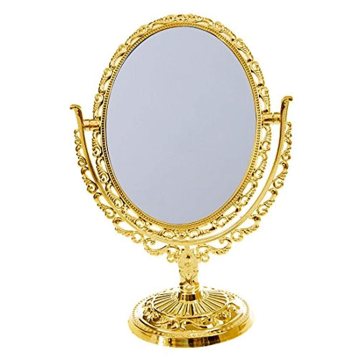 無限大アナロジー溶接ヨーロッパスタイル デスクトップ 両面楕円形 アーバストスイベルメイク化粧鏡 プラスチックガラス ミラー ゴールド