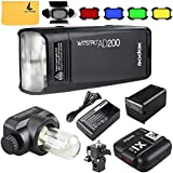 GODOX AD200 TTL 2.4G HSS 1/8000s Pocket Flash Light Double Head 200Ws 2900mAh Lithium Battery +GODOX X1T-S 2.4G Wireless Flash Trigger Compatible for Sony Cameras,GODOX BD-07 Barn Door