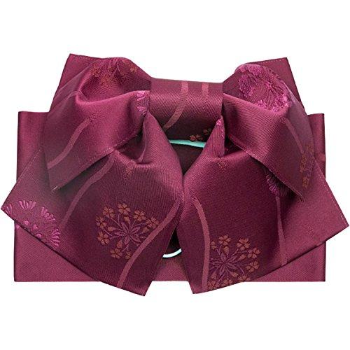 (キョウエツ) KYOETSU 作り帯 結び帯 浴衣帯 ワンタッチ 柄お任せ (ワイン系)