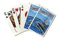 コーパスクリスティ、テキサス–釣りボートwith Freighter and Dolphins ( Playingカードデッキ–52カードPokerサイズwithジョーカー)