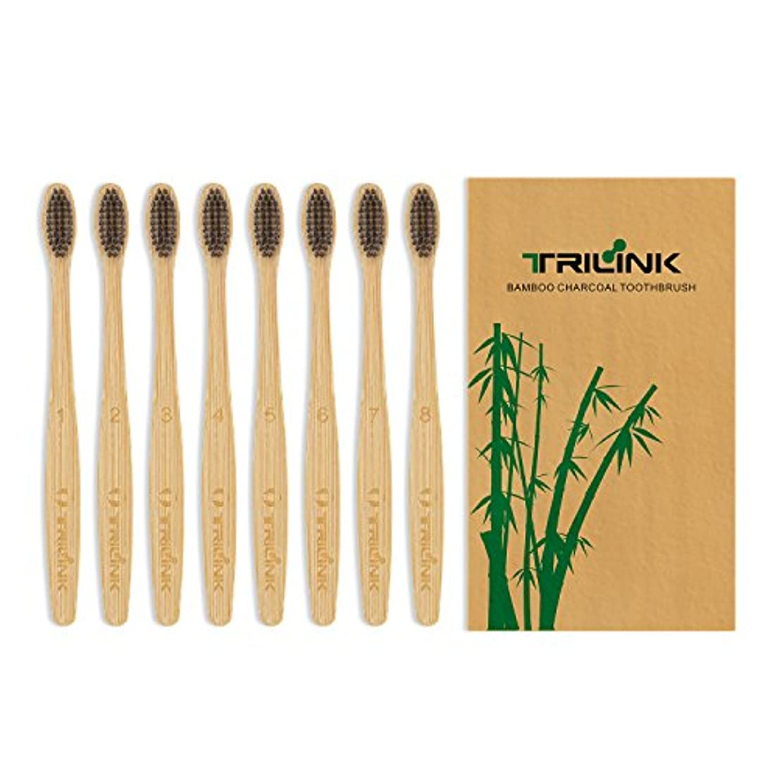 ひそかに偏心モニター大人用竹の歯ブラシ(8本) 環境保護 天然の柔らかい ハブラシ【 活性炭を注入】