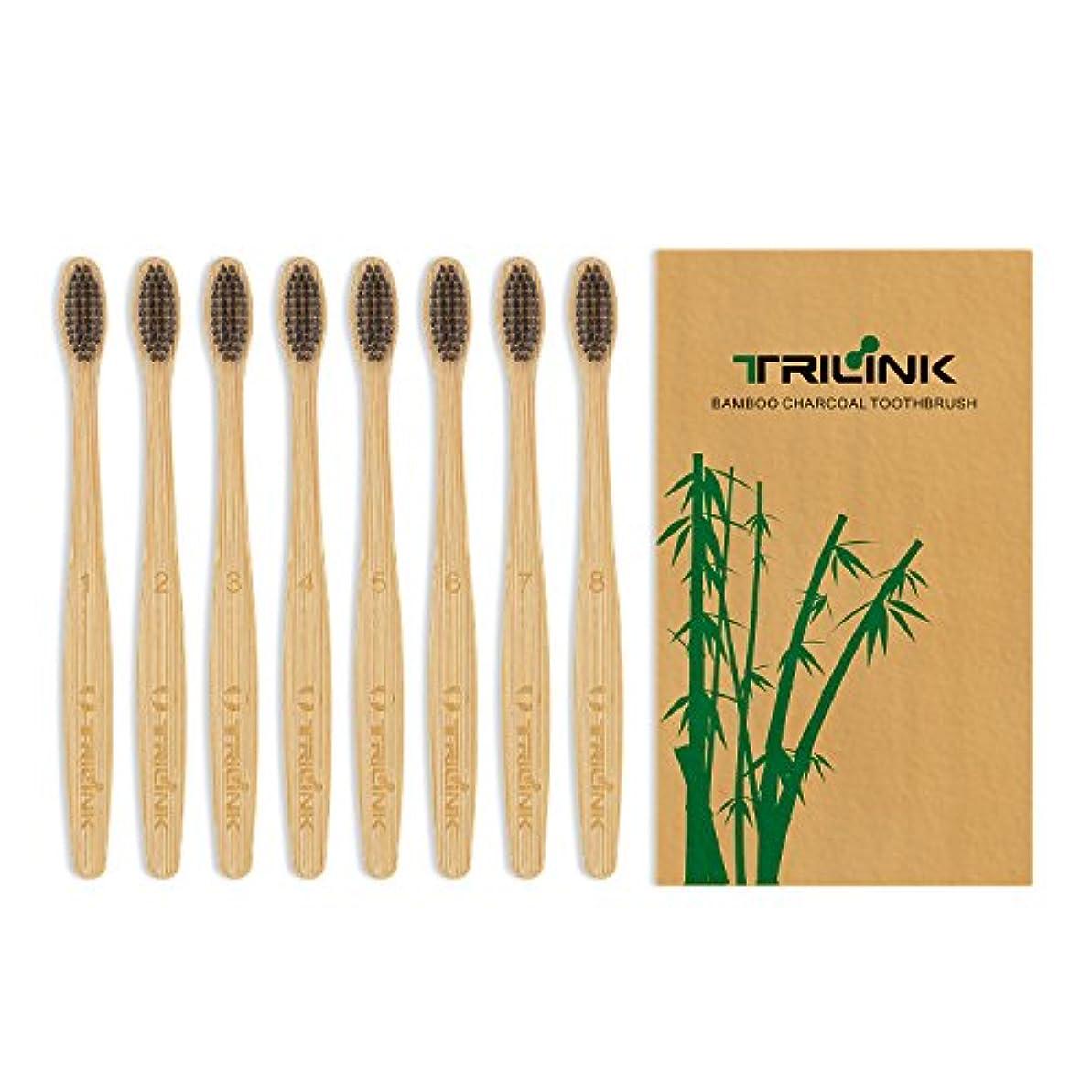 すずめペンフレンド打ち上げる大人用竹の歯ブラシ(8本) 環境保護 天然の柔らかい ハブラシ【 活性炭を注入】