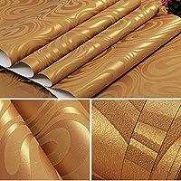 モダンなミニマリストの3D曲線ストライプの不織布の壁紙、家の装飾の壁紙、家の居間の寝室のテレビの背景の壁紙 (色 : ゴールド)