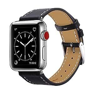 BRG コンパチブル apple watch バンド,本革 ビジネススタイル コンパチブル アップルウォッチバンド コンパチブルアップルウォッチ4 apple watch series4/3/2/1 レザー製(38mm/40mm,ブラック)