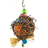 Sanwooden Funny Parrot Bite Toy Lovely Cane Ball Scrip Biting Chewing Pet Parrot Bird Toy Hanging Cage Decor Pet Supplies