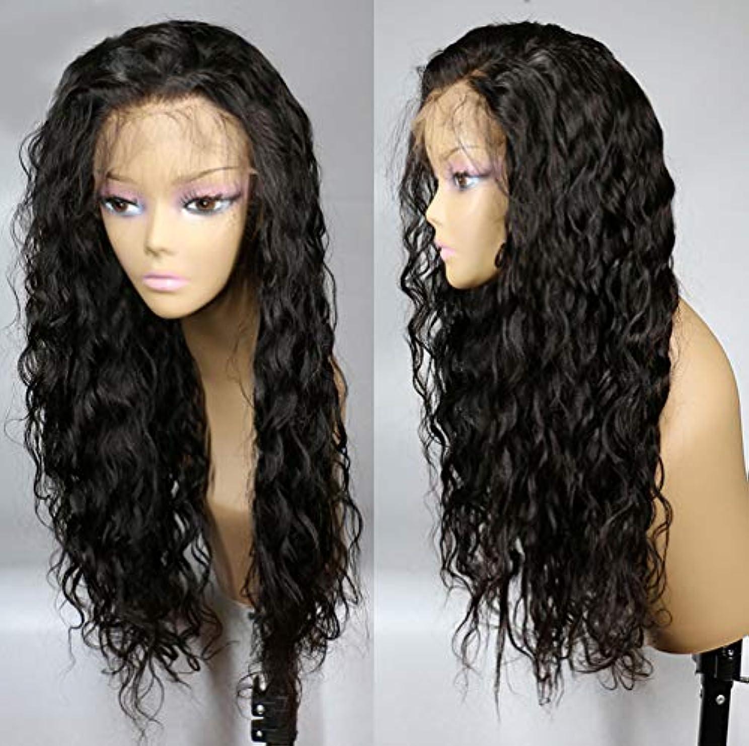 霊政治家検出可能女性のかつら150%密度フロントレース長いウェーブのかかった巻き毛かつらブラジル人毛
