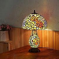 DLoob ガラステーブルランプ レトロ ヨーロピアンガーデン リビングルーム装飾ランプ 寝室 ベッドサイドランプ LED 調光可能