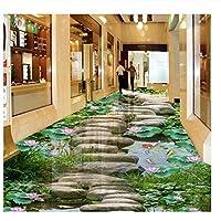 山笑の美 壁紙フローリングカスタム3d床壁画蓮の魚の池3d写真部屋壁画床壁紙リビングルーム-280X200cm