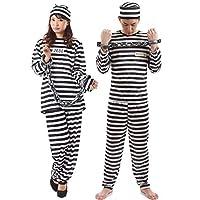 【手錠付き】monoii 囚人服 囚人 コスプレ 衣装 コスチューム ハロウィン 長袖 メンズ レディース 519