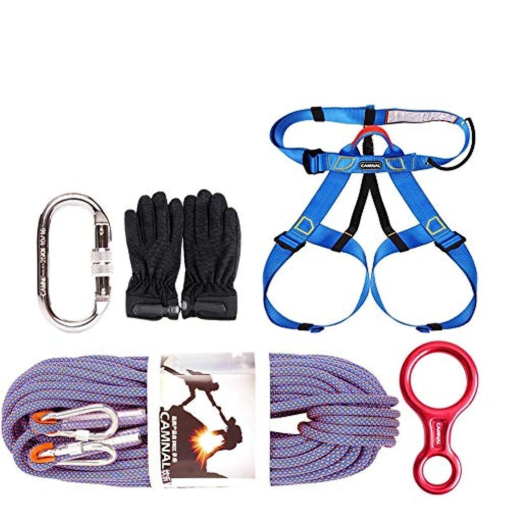 落ち着く弾薬継続中ロッククライミングロープセット、10.5ミリメートル直径屋外ハイキングコード高強度安全ロープ(20メートル)半身ウエストサポートベルトカラビナアクセサリー,Purple,20m