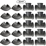 IBEUTES 10-Pack Black Malleable Iron Cast Black Pipe Fittings 1/2 inch Pipe tee Elbow, DIY Pipe Furniture, 1/2 Inch Black Iron Pipe Threaded Pipe Nipples Industrial Piping