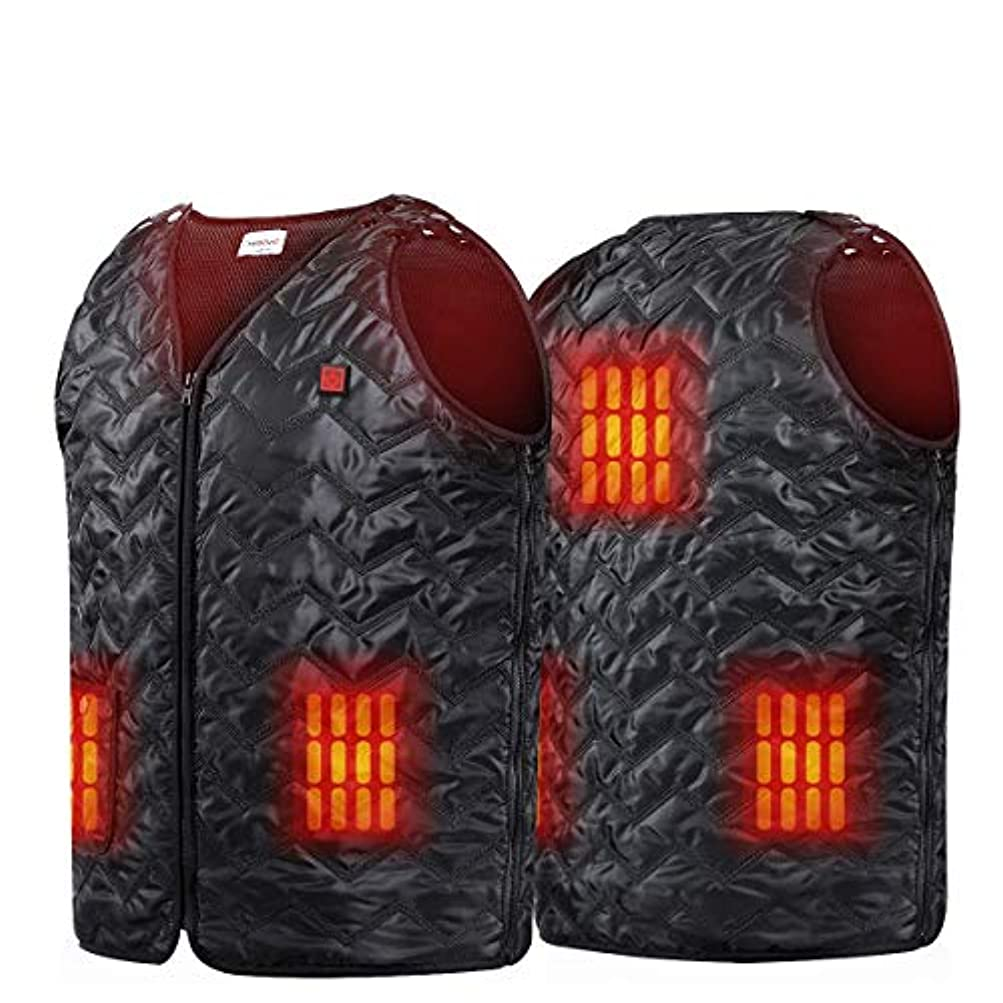 検出するロシア敬なNiubalac 温水ベスト バイク用 ハイキング 狩猟 釣り スキー用 5パネル加熱服サイズ調節可能なウォッシャブル軽量鎮痛剤を充電USB アウトドアアクティビティは男性女性ユニセックス 適合します Lサイズ ブラック