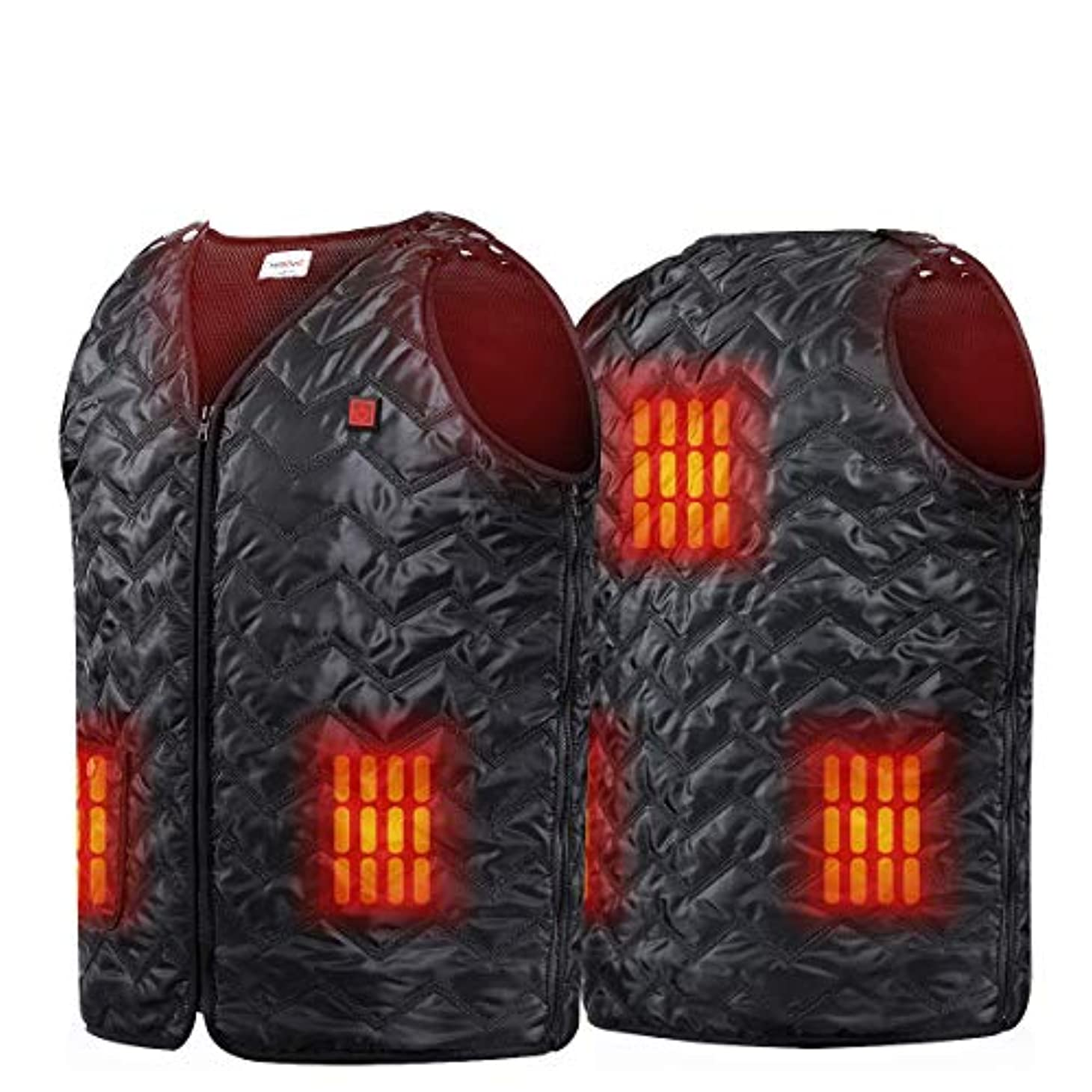 部門弱める摂氏度Niubalac 温水ベスト バイク用 ハイキング 狩猟 釣り スキー用 5パネル加熱服サイズ調節可能なウォッシャブル軽量鎮痛剤を充電USB アウトドアアクティビティは男性女性ユニセックス 適合します Lサイズ ブラック