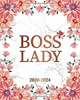 Boss Lady 2020-2024: White Marble 5 Year Monthly Planner & Schedule Organizer with 60 Months Spread View - Trendy Rose Floral Five Year Calender, Agenda, Notebook & Diary.