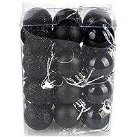 TeFuAnAn 選べる【全10色】 クリスマス オーナメント ボール 24個セット 3cm デコレーション ボール ツリー 飾り パーティー 結婚式 おしゃれ(ブラック )