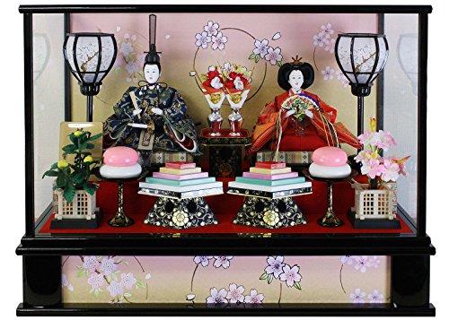 雛人形 ケース飾り ひな人形 黒塗桜輪バック親王飾り W54×D31×H45.2cm 352-019