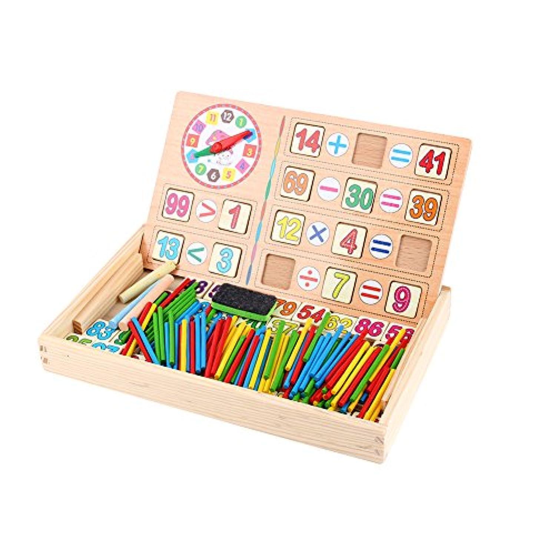 木のおもちゃ 積み木 算数時計 算数パズル 算数セット 数え棒 多機能 かけざん 割り算 足し算 引き算 数遊び 絵かきボード 両面利用可能 幼児知育玩具