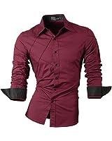 (ジーンズイアン)Jeansian 男性用 メンズ スリムフィット 長袖 カジュアル シャツ ワイシャツ 2028 WineRed S