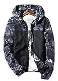 アウトドア用品 [オチビ] ウィンドブレーカー メンズ フード付き カモフラ 迷彩 柄 ジャンパー ジャケット サイクル 登山 防風 防寒