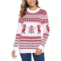 iClosam Women's Christmas Reindeer Snowflakes Tree Patterns Holiday Xmas Sweater Cardigan