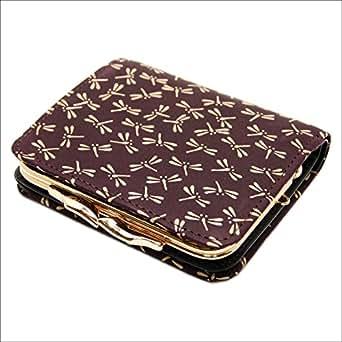 印傳屋 印伝 がま口 レディース ( 女性用 ) 本革 二つ折り  財布 札入れ 1605 日本製 和風 和柄 通販 ギフトに (とんぼ(紫×白))