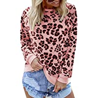 Macondoo Womens Top Sweatshirt Long-Sleeve Plus Size Blouse Leopard T-Shirt